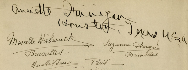 Traces of the group visit by Marcelle Werbrouck, Suzanne Berger and Marcelle Baud. Maurice Nahman Visitor Guestbook, p. 36. Courtesy of the Wilbour Library of Egyptology, Brooklyn Museum